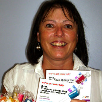 Christine Allen-Lloyd with promotional lollies from ART